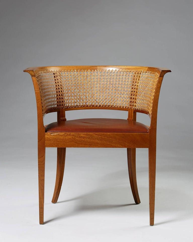 Scandinavian Modern Faaborg Chair Designed by Kaare Klint for Rud. Rasmussen, Denmark, 1914 For Sale