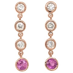 Fab Drops 14 Karat Pink Gold Diamond and Pink Sapphire Drop Earrings