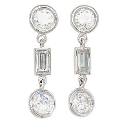Fab Drops 14 Karat White Gold Baguettes and Round Diamond Drop Earrings