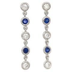 Fab Drops 14 Karat White Gold Diamond and Sapphire Drop Earrings