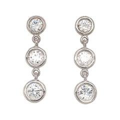Fab Drops 14 Karat White Gold Diamond Drop Earrings