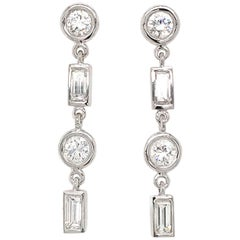 Fab Drops 14 Karat White Gold Round and Baguettes Diamond Drop Earrings