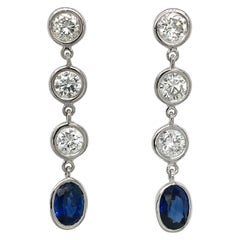 Fab Drops 14 Karat White Gold Round Diamond and Sapphire Drop Earrings
