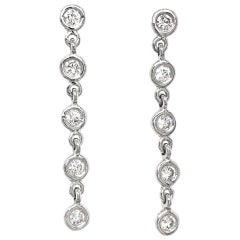 Fab Drops 14 Karat White Gold Round Diamond Drop Earrings