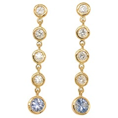 Fab Drops 18 Karat Gold Diamond and Light Blue Ceylon Sapphire Drop Earrings