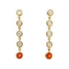 Fab Drops 18 Karat Yellow Gold Diamond and Champagne Sapphire Drop Earrings