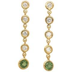 Fab Drops 18 Karat Yellow Gold Diamond and Green Sapphire Drop Earrings