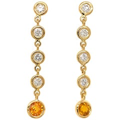 Fab Drops 18 Karat Yellow Gold Diamond and Yellow Sapphire Drop Earrings
