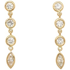 Fab Drops 18 Karat Yellow Gold Round and Marquise Diamond Drop Earrings