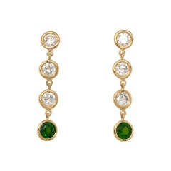 Fab Drops 18 Karat Yellow Gold Round Diamond and Chrome Diopside Drop Earrings