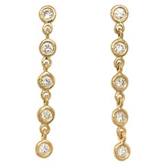 Fab Drops 18 Karat Yellow Gold Round Diamond Drop Earrings