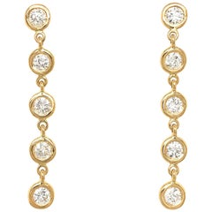 Fab Drops 18 Karat Yellow Gold Round Diamond Drop Earrings