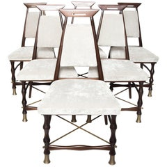 Fab Frank Kyle 6 Gray Dining Chairs Faux Bamboo Mexican Mahogany & Brass 1950s