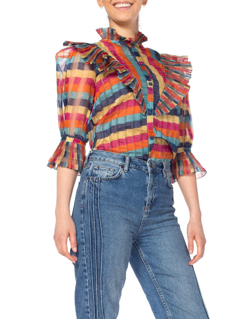 Fab Gucci Style 1970s Rainbow Ruffled Silk Blouse For Sale 6
