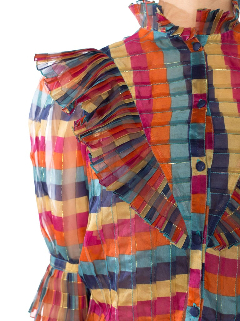 Pink Fab Gucci Style 1970s Rainbow Ruffled Silk Blouse For Sale