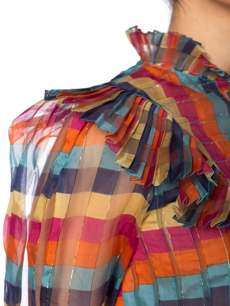 Fab Gucci Style 1970s Rainbow Ruffled Silk Blouse In Excellent Condition For Sale In New York, NY