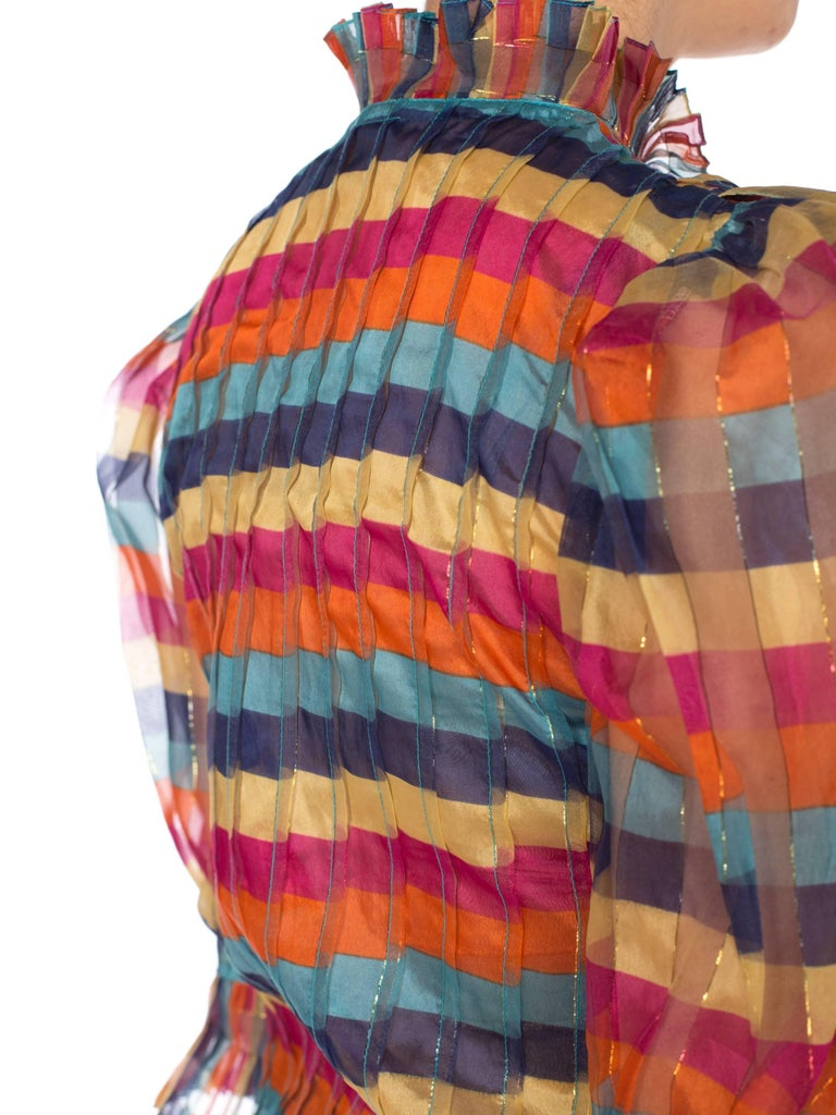 Women's Fab Gucci Style 1970s Rainbow Ruffled Silk Blouse For Sale