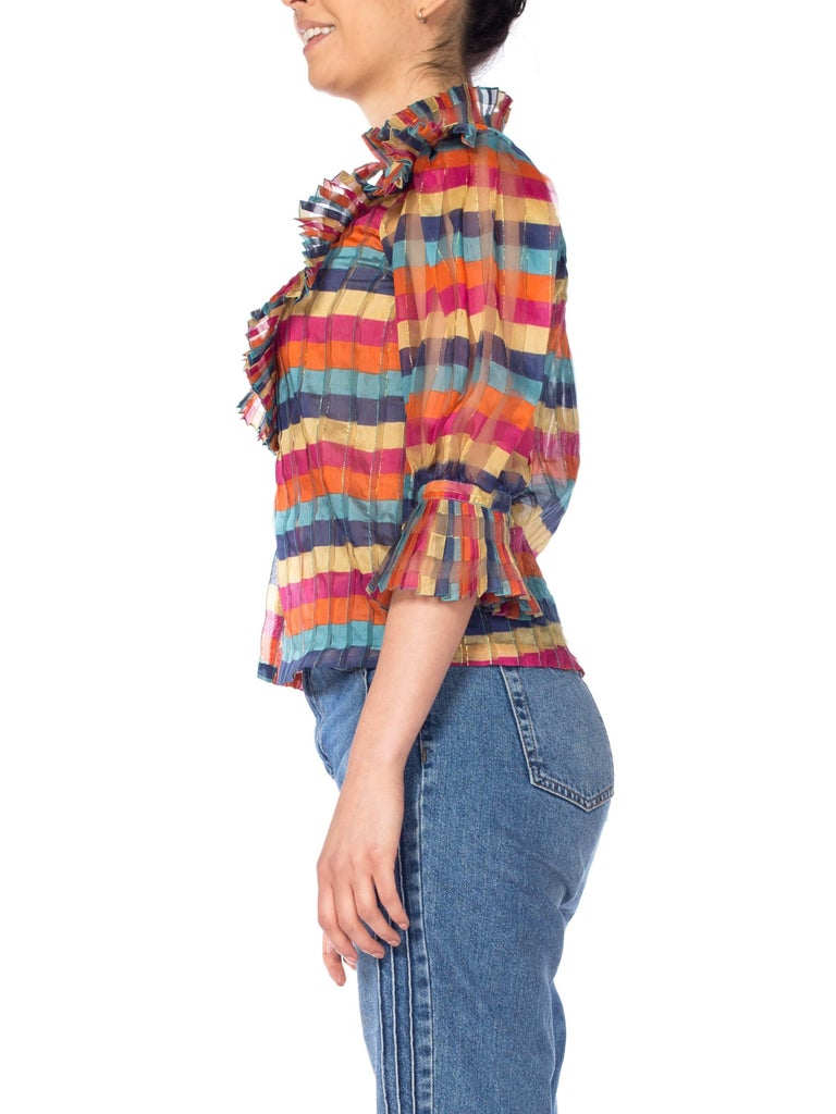 Fab Gucci Style 1970s Rainbow Ruffled Silk Blouse For Sale 1