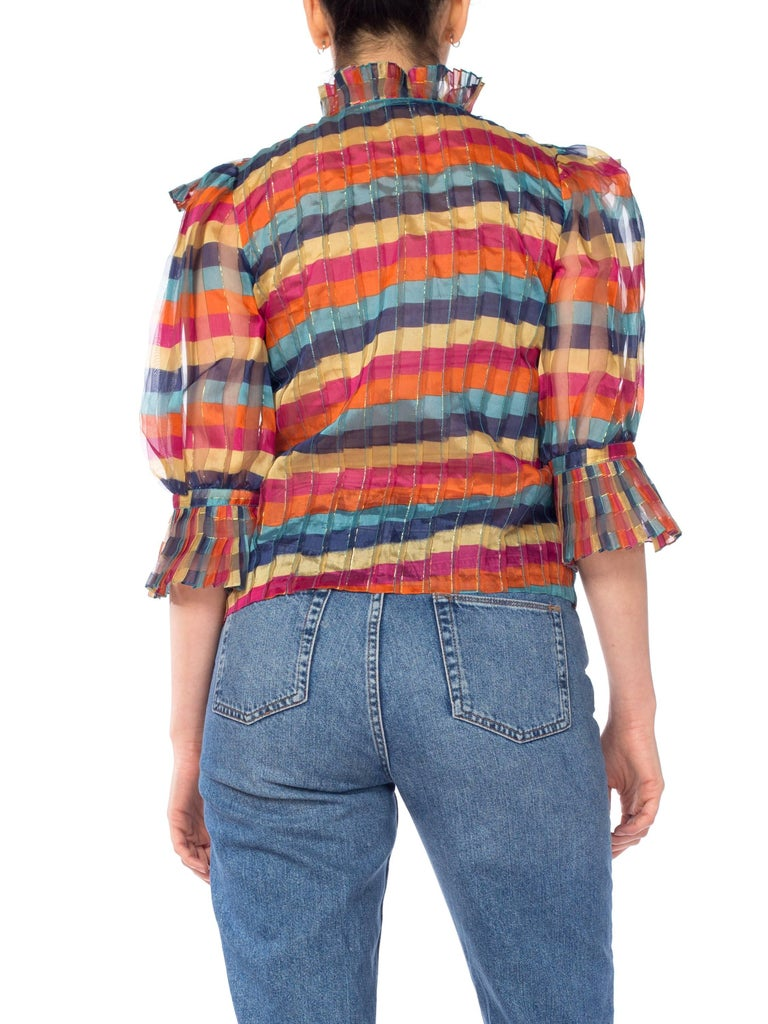 Fab Gucci Style 1970s Rainbow Ruffled Silk Blouse For Sale 2