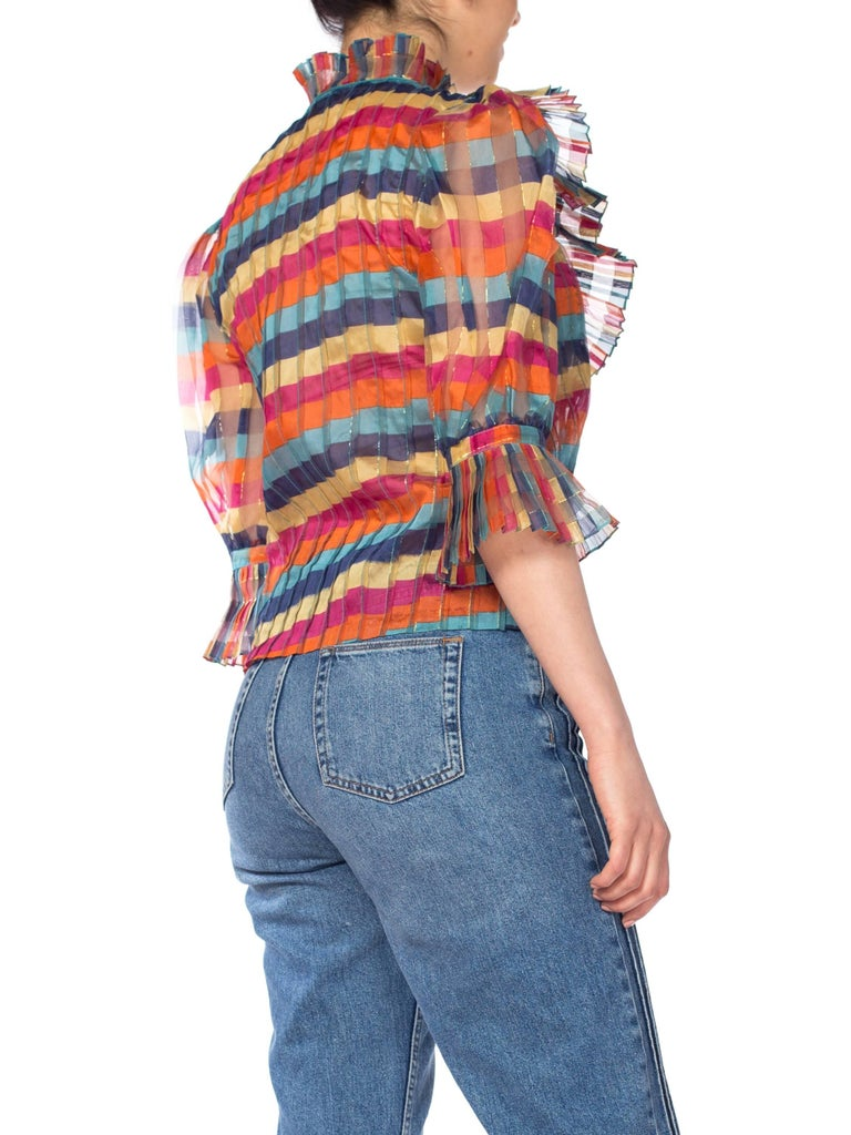 Fab Gucci Style 1970s Rainbow Ruffled Silk Blouse For Sale 3
