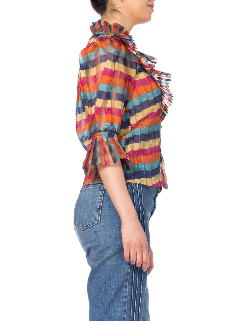 Fab Gucci Style 1970s Rainbow Ruffled Silk Blouse For Sale 4