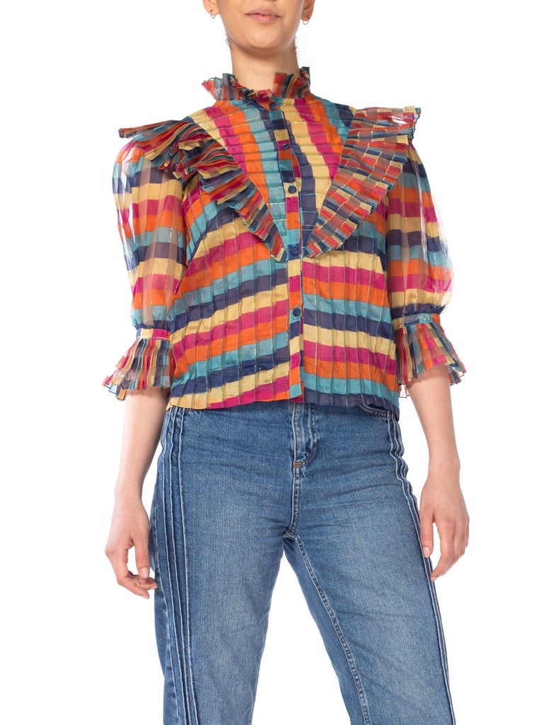 Fab Gucci Style 1970s Rainbow Ruffled Silk Blouse For Sale 5