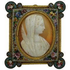 Fabbrica Angelo Pessar Italian Micro Mosaic Frame Carved Shell Cameo Madonna