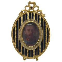 Fabergé Blue Enamel Oval Picture Frame