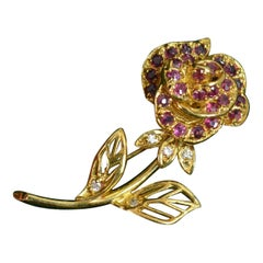 Modern Faberge 18 Carat Gold Ruby Diamond Rose Brooch in Box and Certificate