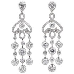 Fabergé 18 carat White Gold and White Diamonds and Pear-Shaped Damask Earrings