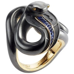 Fabergé 18K Gold Black Sea Serpent Ring With Blue Sapphires & Opals