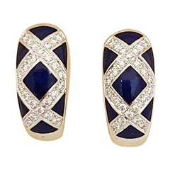 Faberge 18 Karat Gold Diamond 0.48 Carat and Blue Enamel Earrings, Certificate