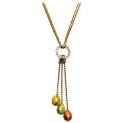 Faberge 18 Karat Gold, Enamel Egg Pendant Necklace with Diamonds, Certificate