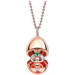 Fabergé Essence Rose Gold Emerald Ring Surprise Locket