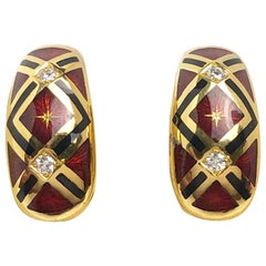 Faberge 18 Karat Gold, Red Enamel and Diamond Earrings with Certificate