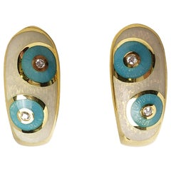Faberge 18 Karat Gold, White and Turquoise Enamel Earrings with Certificate