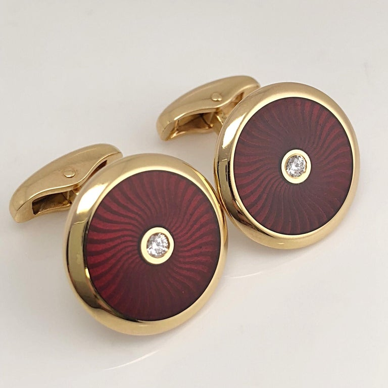 Art Nouveau Faberge 18 Karat Rose Gold and Red Enamel Cufflinks with Certificate For Sale