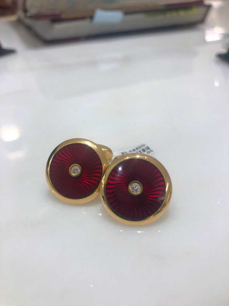 Faberge 18 Karat Rose Gold and Red Enamel Cufflinks with Certificate In New Condition For Sale In New York, NY