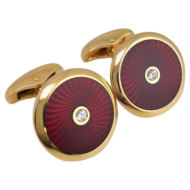 Faberge 18 Karat Rose Gold and Red Enamel Cufflinks with Certificate For Sale