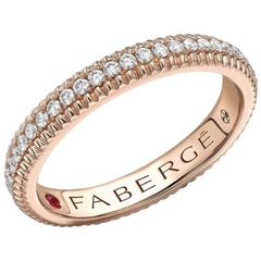 Colours of Love Rose Gold Diamond Set Fluted Ring