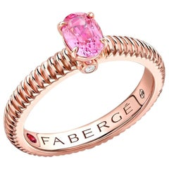 18K Rose Gold Oval Pink Sapphire Fluted Ring