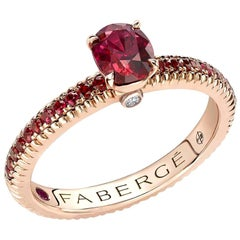 Colours of Love Rose Gold Ruby Fluted Ring with Ruby Shoulders
