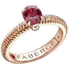 Colours of Love Rose Gold Ruby Fluted Ring