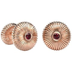 18K Rose Gold Ruby Round Fluted Cufflinks