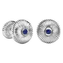 Fabergé 18 Karat White Gold Blue Sapphire Round Fluted Cufflinks