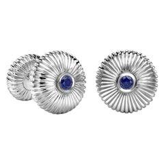 18K White Gold Blue Sapphire Round Fluted Cufflinks