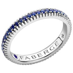 Colours of Love White Gold Sapphire Fluted Eternity Ring