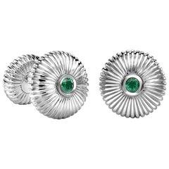 Fabergé 18K White Gold Emerald Round Fluted Cufflinks