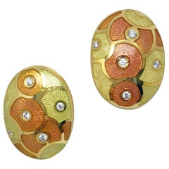 Faberge 18 Karat Yellow Gold, Diamond and Enamel Oval Earrings with Certificate