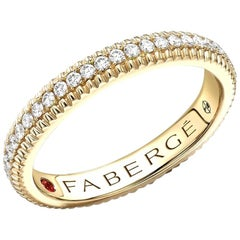 18K Yellow Gold Diamond Set Fluted Band Ring
